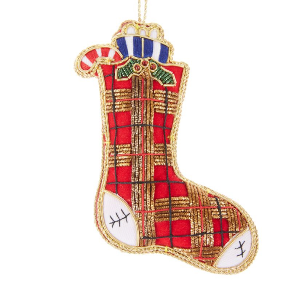 Red Tartan Stocking Christmas Decoration