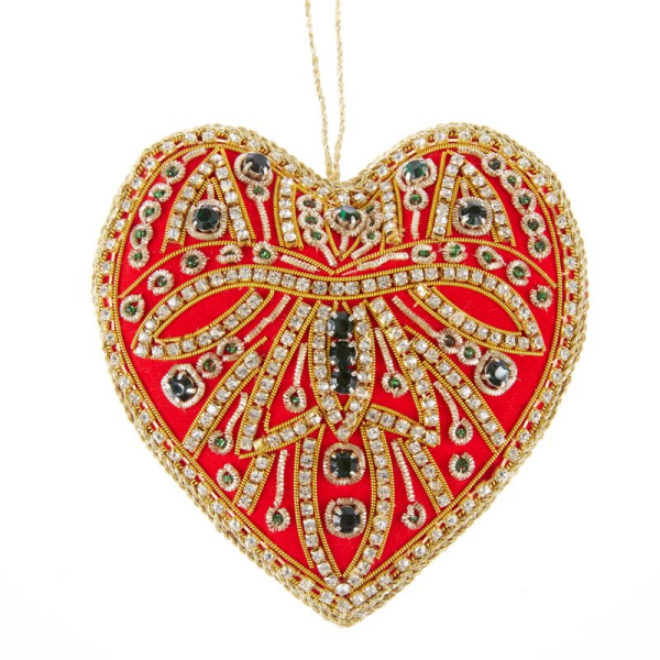Red and Green Crystal Heart Christmas Decoration