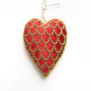Red, Green & Gold Velvet Heart Christmas Decoration