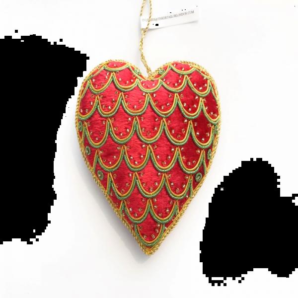 Red, Green & Gold Velvet Heart Christmas Decoration