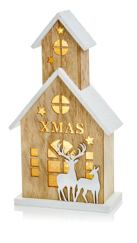 Wooden Christmas Church with LEDs