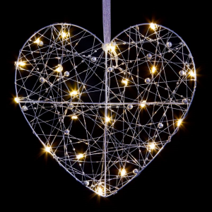 Flat Heart with LEDs and Beads