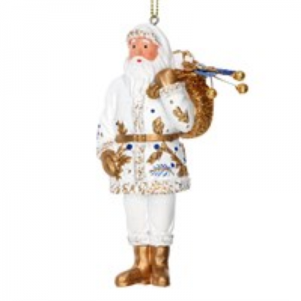 Gisela Graham Delft Santa Christmas Decoration