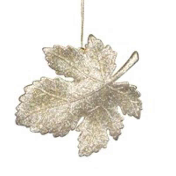 Gisela Graham Delft Leaf Glitter Christmas Decoration