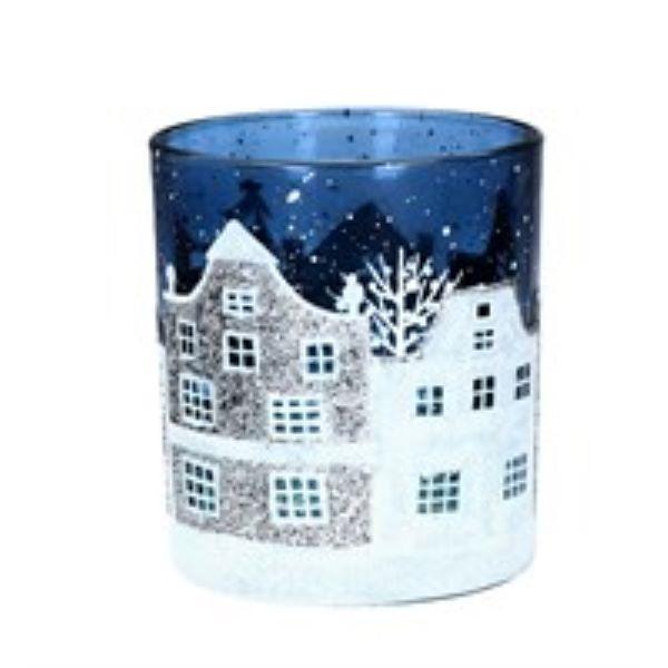 Small Glass Christmas Street Scene Tea Light Pot by Gisela Graham