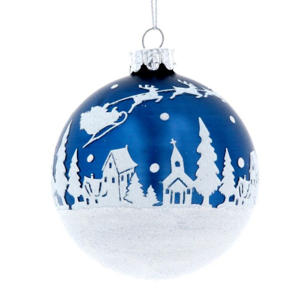 Blue Glass Bauble with Snowscene design