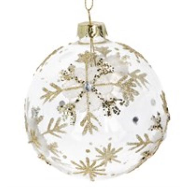 Glass Bauble with Gold Lace Flowers and Snowflake design