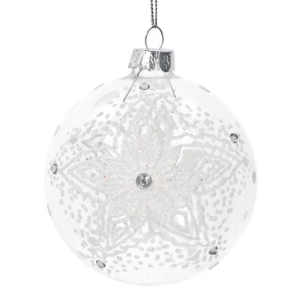Glass Bauble with White Lace Snowflake design