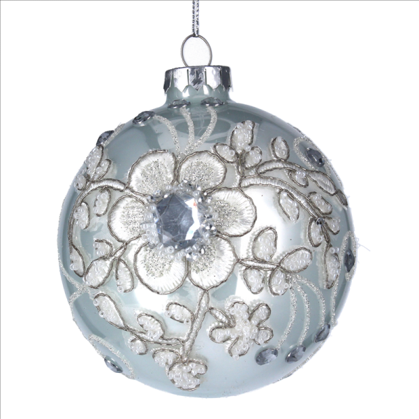 Glass Bauble with Flower print