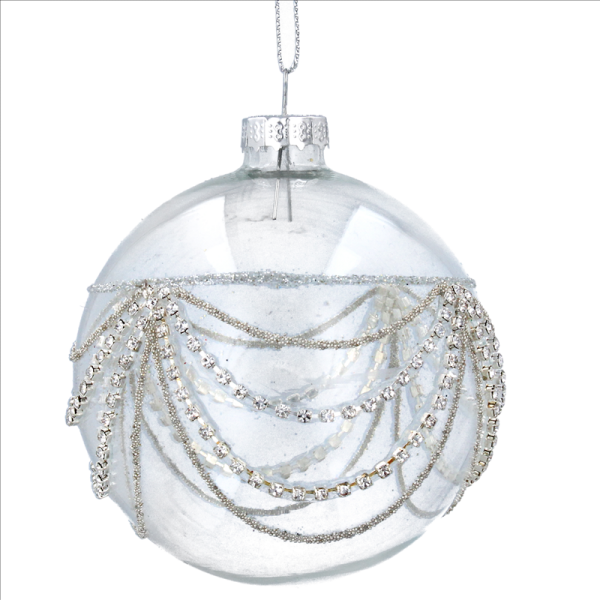 Clear Glass Bauble with Diamante