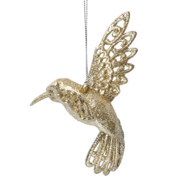 Gold Glitter Acrylic Hummingbird Decoration