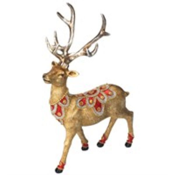 Gold Stag with Red and Gold Jewels Ornament
