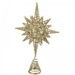 Gold Glitter Wire Bethlehem Star Tree Topper