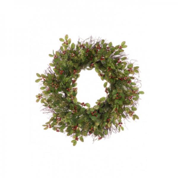 Glitter Holly Wreath