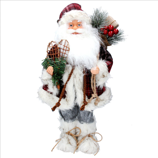 Plush Santa with Tartan Coat