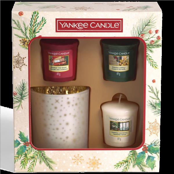 3 Votive Candle 1 Holder Gift Set