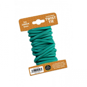 5m Twist Tie Cushioned 5mm with wire centre Green