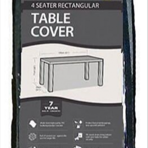 4 Seater Rectangular Table Cover, Black