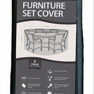 6-8 Seater Round Furniture Set Cover, Black