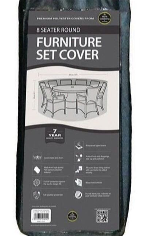 8 Seater Round Furniture Set Cover, Black
