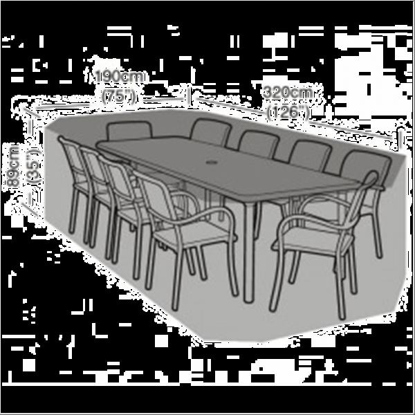 8-10 Seater Rectangular Furniture Set Cover, Black