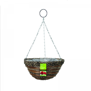 "35cm (14"") Sisal Rope & Fern Hanging Basket"