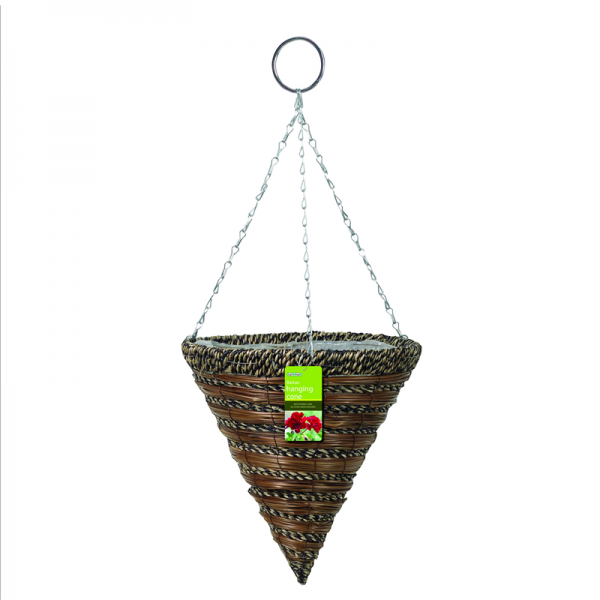 "35cm (14"") Sisal Rope & Fern Hanging Cone"