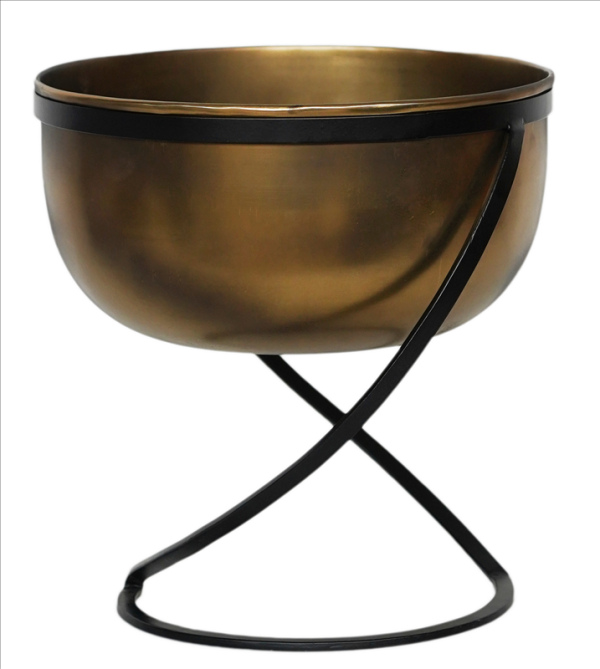 Kensington Brass Metal Planter & Stand 28cm