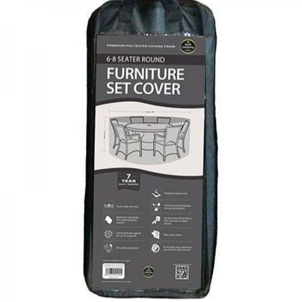 6-8 Seater Round Furniture Set Cover, Black