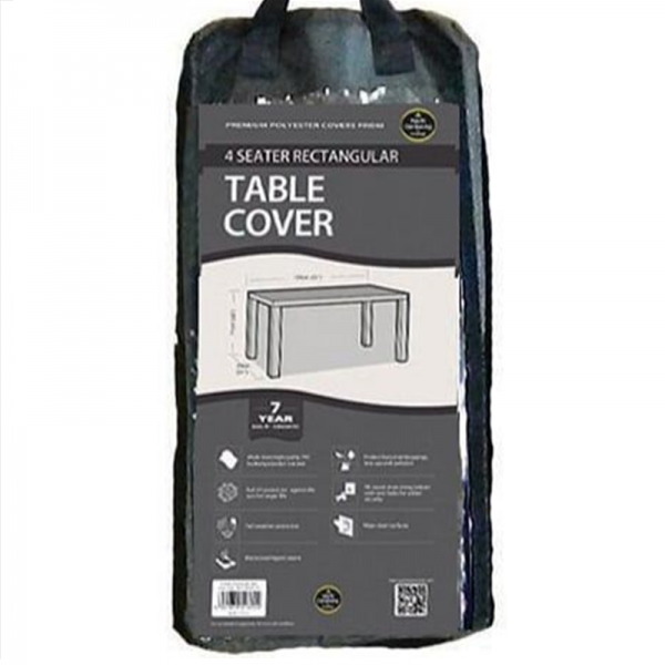 4 Seater Rectangular Table Cover, Black