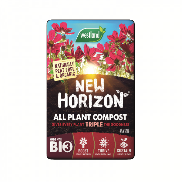 New Horizon All Plant Compost. Naturally peat free & organic, A perfect blend Biofibre,West+&