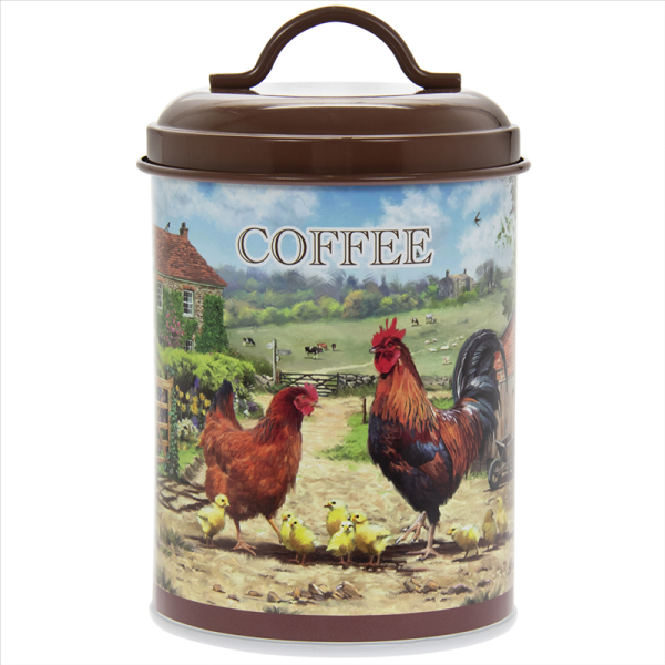 Cockerel & Hen Coffee Canister