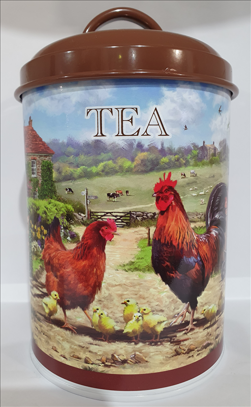 Cockerel & Hen Tea Canister