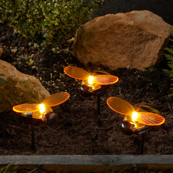 Bees Led Stake - Triple Pack