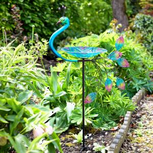 Peacock Stake Birdbath
