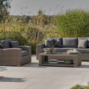 Kettler Palma Luxe 3 Seat Sofa Set - Whitewash