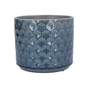 Navy Honeycomb Ceramic Pot