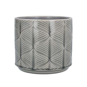Grey Wavy Ceramic Pot 17cm
