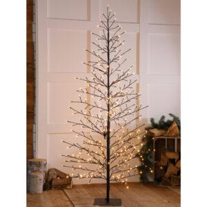1.8M Warm White Black Wire Tree