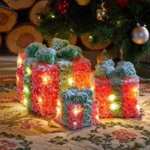 Faux Gift Boxes - Frosted Red