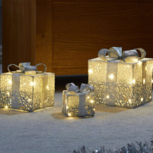 Faux Gift Boxes - Sparkly Silver