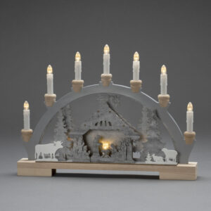 Candlestick Nativity Scene, 7 bulbs