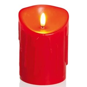 Flickerbright Candle Red 13x9cm
