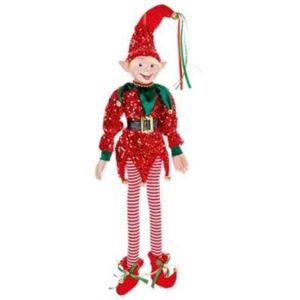 75cm Red Sequin Posable Elf