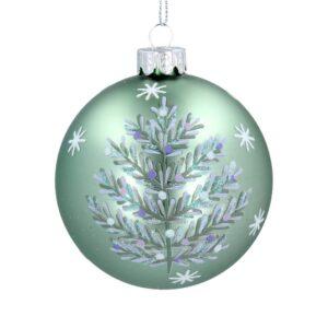 Matt Green Glass Ball Silver Tree