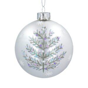 Matt White Glass Ball Silver Tree