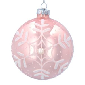 Matt Pink Ball with Snowflake