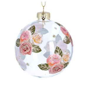 Glass Ball with Pink Roses